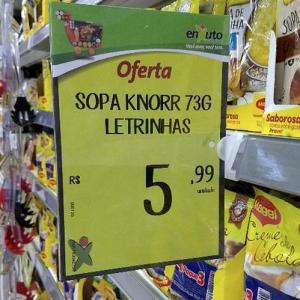 Etiqueta de preço para gôndola